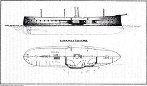 Chilean ironclad Almirante Cochrane - Plan view and profile