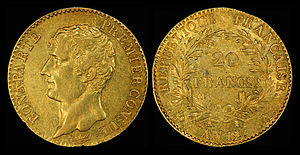 A 20-franc Napoléon from the latter part of 1803 a/k/a An. 12. N.B. the French Revolutionary calendar began in September with the Revolution and therefore each Revolutionary year falls into two Gregorian calendar years.