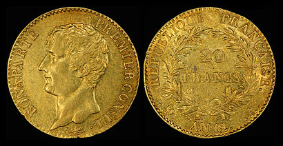 Depicted as First Consul on the 1803 20 gold Napoléon gold coin.