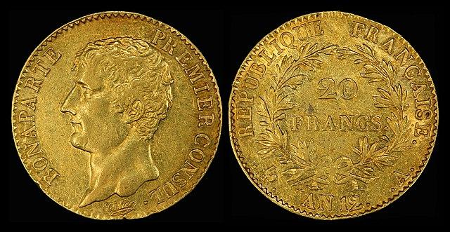20 золотых франков 1803 года— Наполеон как первый консул