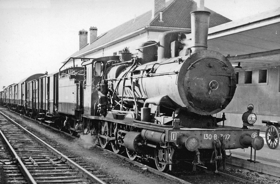 SNCF class 130-8 2-6-0 at Chaumont, 1958.