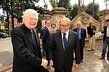Il cardinale Scola e Francesco Gaetano Caltagirone al convegno degli amici della LUISS del 2009 a Roma