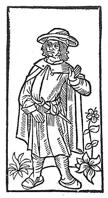 Stock woodcut image, used to represent François Villon in the 1489 printing of the Grand Testament de Maistre François Villon