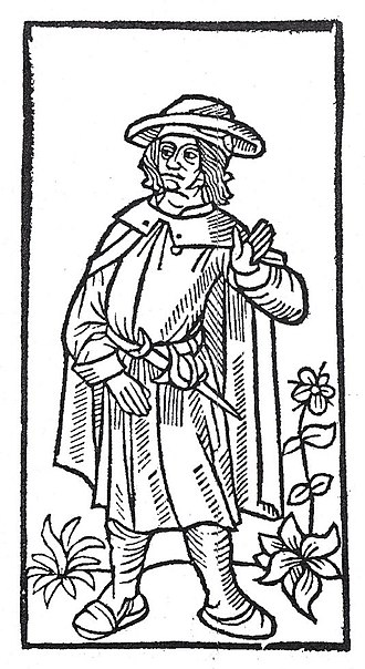 François Villon - Stock woodcut image, used to represent François Villon in the 1489 printing of the Grand Testament de Maistre François Villon