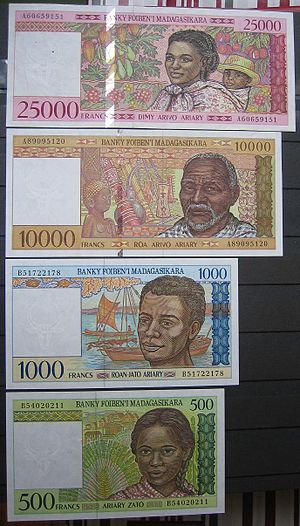 Malagasy franc - The last of Malagasy franc banknotes