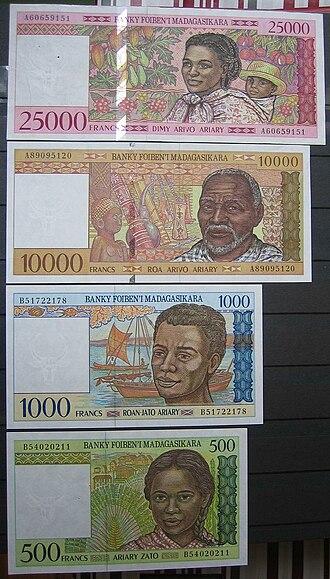 Malagasy franc - The last of Malagasy franc banknotes