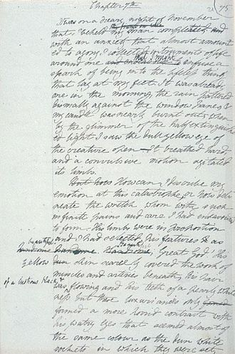 "Mary Shelley - Draft of Frankenstein (""It was on a dreary night of November that I beheld my man completed ..."")"