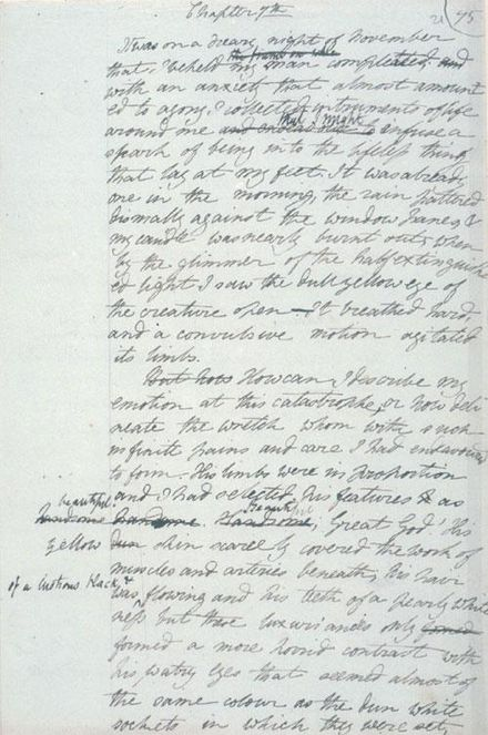 "Draft of Frankenstein (""It was on a dreary night of November that I beheld my man completed ..."") FrankensteinDraft.jpg"