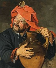 Man with a large pottery jug or drinkebroer