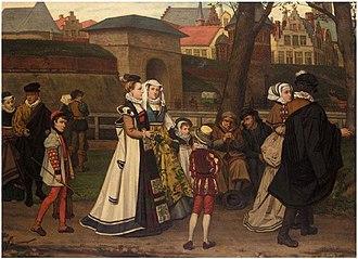 Franz Vinck - Medieval street scene