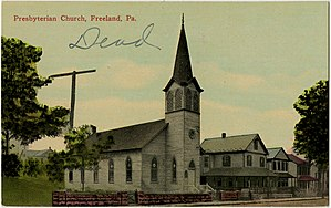 Freeland, Pennsylvania - An old postcard of a church in Freeland.