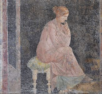 Fresco depicting a seated woman, from the Villa Arianna at Stabiae, Naples National Archaeological Museum (17393152265)