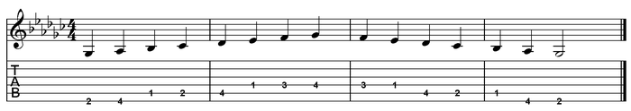 G flat major scale one octave (open position).png