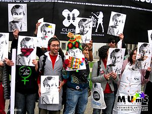 English: Posters of Gabriela Mistral in a LGBT...
