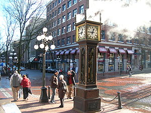 Cambie Street - Steam clock at Cambie Street's northern end in Gastown.