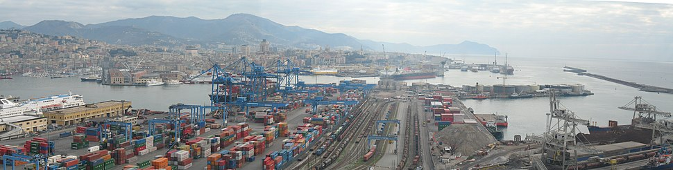A view of the commercial port of Genoa