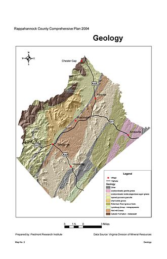 Amissville, Virginia - Geological map of Rappahannock County, with the village of Amissville shown on the far right