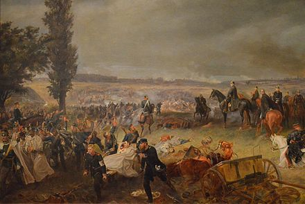 King Wilhelm I on a black horse with his suite, Bismarck, Moltke, Roon, and others, watching the Battle of Königgrätz