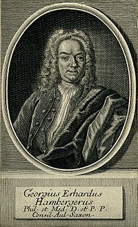 Georg Erhard Hamberger. Line engraving by M. Bernigeroth. Wellcome V0002540.jpg