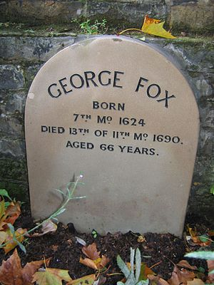 1691 in England - George Fox is buried under an appropriately simple grave marker (11th month 1690 translates to January 1691 in the new style calendar)