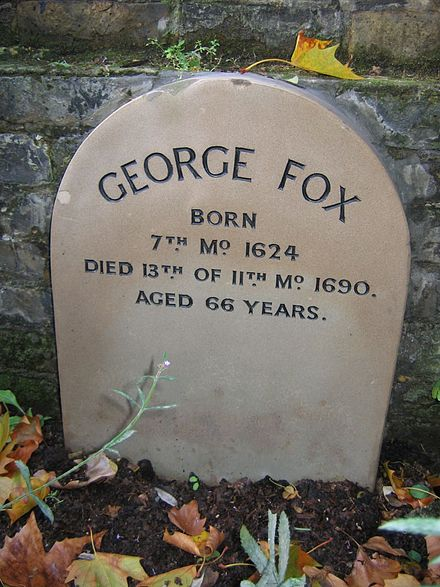 The Quaker testimony of simplicity extends to memorialisation as well. Founder George Fox is remembered with a simple grave marker at Quaker Gardens, Islington. George Fox marker Bunhill Fields.jpg