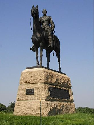 Henry Kirke Bush-Brown - Bush-Brown's first equestrian statue was a monument to Union General George Meade on the Gettysburg Battlefield, located close to the point where Pickett's Charge was repulsed.