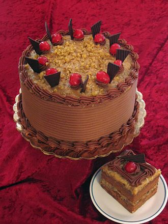 Dessert - German chocolate cake, a layered cake filled and topped with a coconut-pecan frosting.