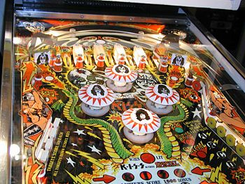 German KISS pinball machine face.