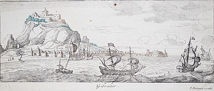Gibraltar, 1654 by Jan Peeters I Gibraltar in 1654 (cropped).jpg