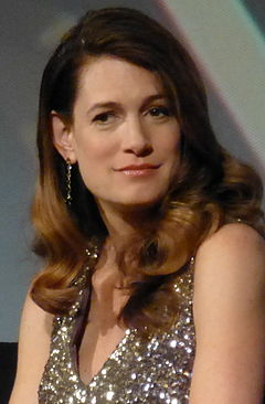 Gillian Flynn på premiären av Gone Girl i New York.