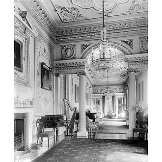 Gilling Castle - Gilling Castle showing 18th century interior, photographed 1909