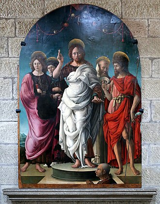 Viterbo Cathedral - Resurrected Christ and Four Saints, by Girolamo da Cremona or Liberale da Verona