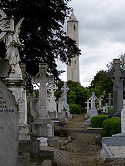 Glasnevin Cemetery The round tower (centre) stands over the tomb of Daniel O'Connell