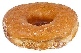 Doughnut - A glazed yeast-raised ring doughnut