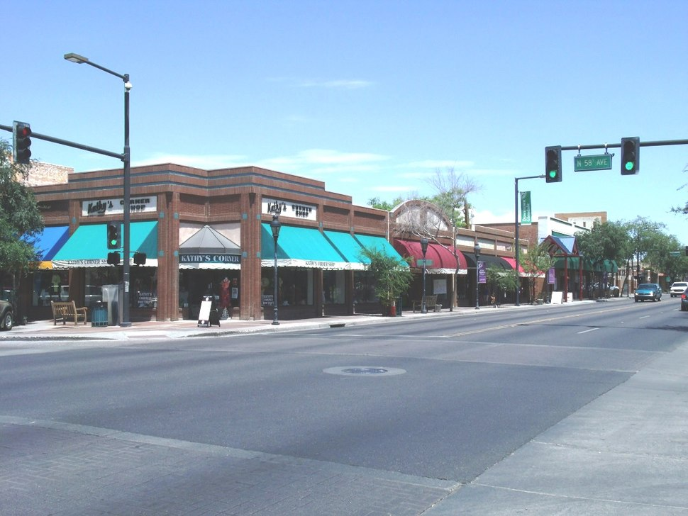 Downtown Glendale, Arizona as viewed from the intersections of Glendale Ave. and 58th Ave.