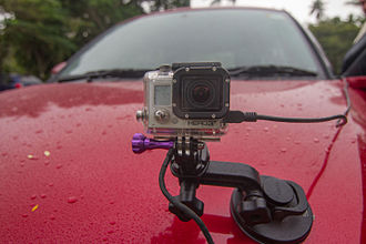 Suction cup - GoPro camera attached to car with suction cup
