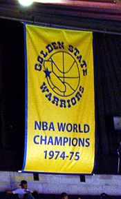 The Warriors' 1975 championship banner.