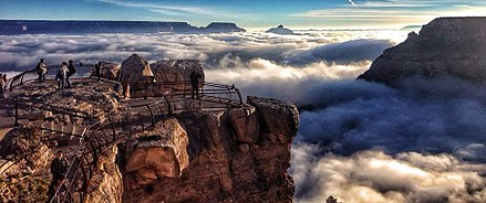 Natural fog sometimes fills the canyon, during temperature inversions Grand Canyon in fog.jpg