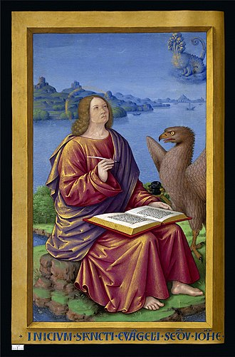 John the Evangelist - Miniature of Saint John from the Grandes Heures of Anne of Brittany (1503–8) by Jean Bourdichon