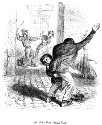 "Violence against women - An illustration from JJ Grandville's Cent Proverbes (1845) captioned ""Qui aime bien châtie bien"" (Who loves well, punishes well). A man beating a woman is shown in the back."