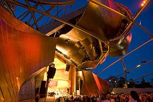Jay Pritzker Pavilion - Grant Park Music Festival night view of Frank Gehry's Pritzker Pavilion