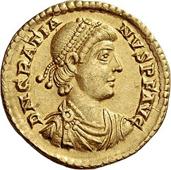 Golden coin depicting Gratian
