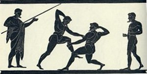 Mixed martial arts - A scene of Ancient Greek pankratiasts fighting. Originally found on a Panathenaic amphora, Lamberg Collection.