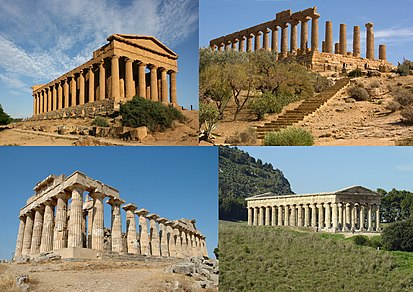 Clockwise from top: temples of Concordia and Hera Lacinia in Agrigento, the temple of Segesta, and the Temple E in Selinunte. Greek temples in Sicily-Agrigento-Selinunte-Segesta.jpg