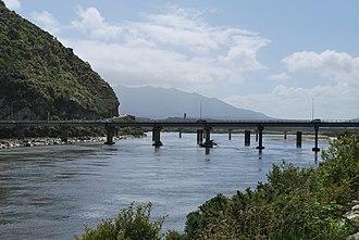 Grey River - Cobden Bridge over the Grey River near its mouth at Greymouth