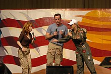 Griffin, Michael McDonald and Karri Turner perform an improvisational skit for soldiers and airmen in Tikrit, Iraq, in 2006