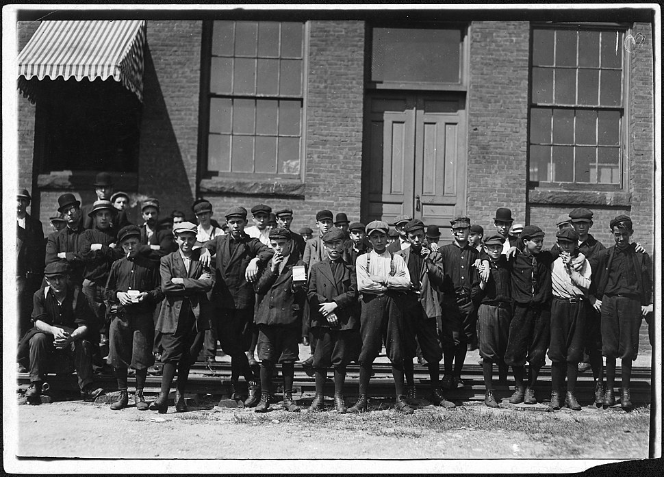 Group in front of Indian Orchard Mfg. Co. Everyone in photo was working. Indian Orchard, Mass. - NARA - 523445