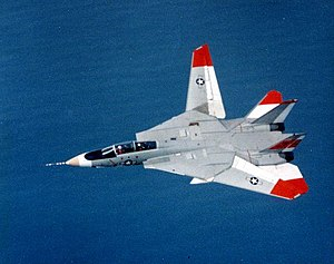 Variable-sweep wing - A Grumman F-14 Tomcat testing an unusual asymmetric wing configuration, showing one wing swept forward, and one swept back