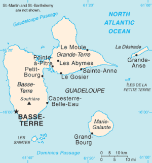Invasion of Guadeloupe (1815) - Map of Guadeloupe