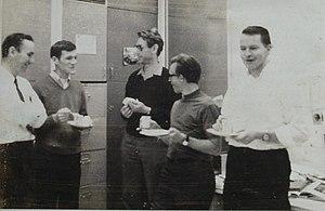 J. B. Gunn - Gunn (middle) with friends at a party, 1969.